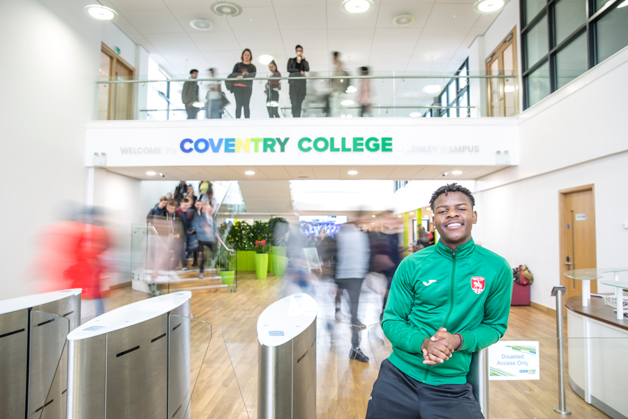 Learner in the Atrium at Coventry College
