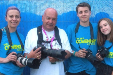 Coventry students pose with photographer John Coles at Godiva Festival