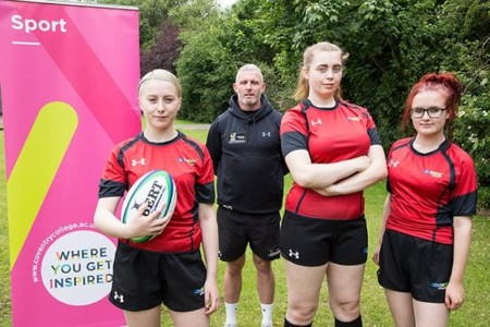 Coventry College female rugby programme learners with coach Pete Glackin
