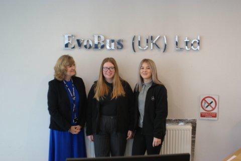 Emma Ingram with Evobus apprentices