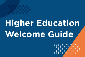 Button to download Higher Education Welcome Guide