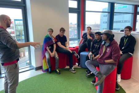 Coventry College's Esports team in team briefing