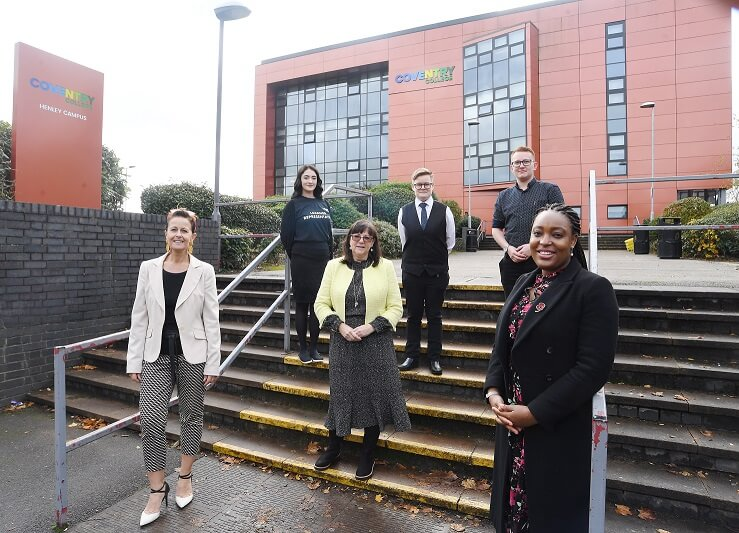 Coventry North West MP Taiwo Owatemi with learners and Principal Carol Thomas outside the Henley Campus